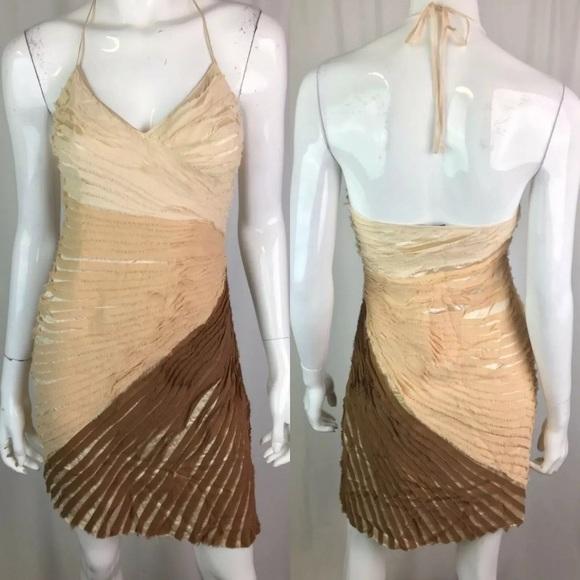 bebe Dresses & Skirts - Bebe Ombré Silk Chiffon V-Neck Halter Sheath Dress
